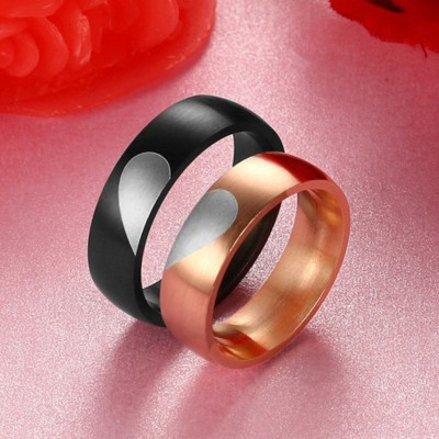 Heart Rose Gold & Black Titanium Steel Promise Rings for Couples