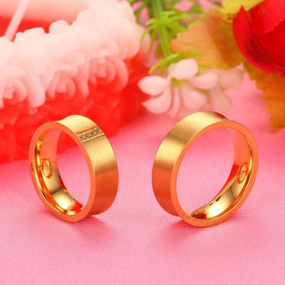 Gold Round Cut White Sapphire Titanium Steel Promise Rings for Couples