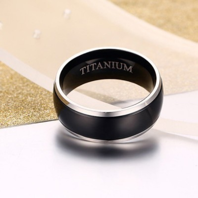 Titanium Simple Silver & Black Men's Ring