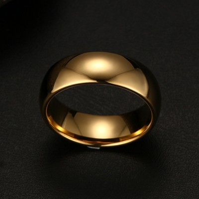 Tungsten Gold Color Simple Men's Ring