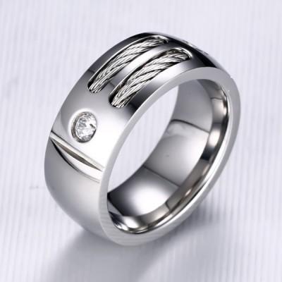 Titanium Round Cut White Sapphire Silver Men's Ring