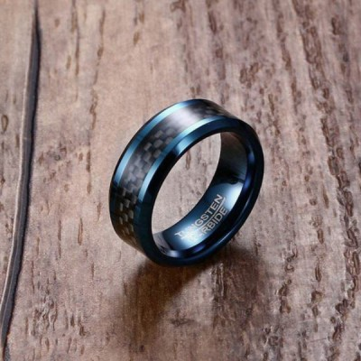 Tungsten Royal Blue & Black Men's Ring