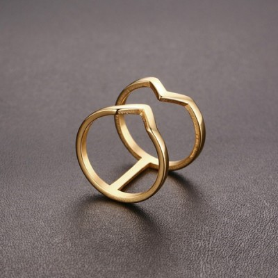 Titanium Unique Design Gold Promise Rings For Her