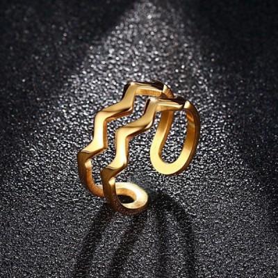 Titanium Unique Curve Gold Promise Rings For Her