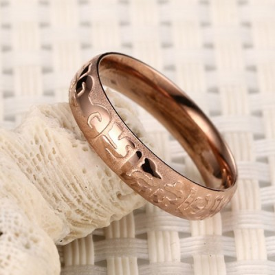 Titanium Rose Gold Three-dimensional Pattern Promise Rings For Her