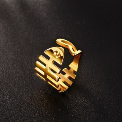 Titanium Gold Fishbone Promise Rings For Her