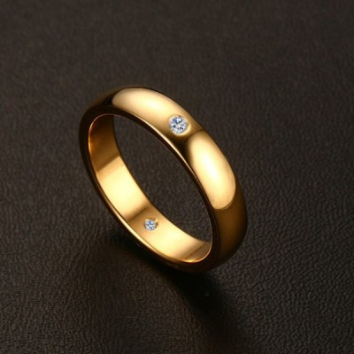 Titanium Round Cut White Sapphire Simple Gold Promise Rings For Her