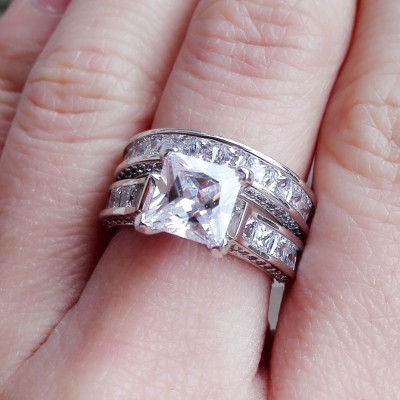 Princess Cut White Sapphire Bridal Sets