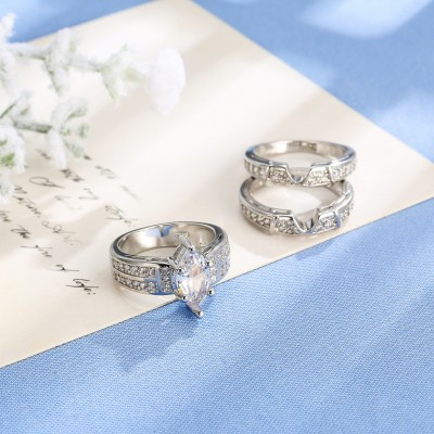 Marquise Cut White Sapphire 3 Piece Bridal Sets