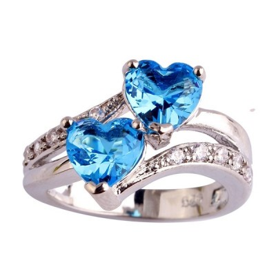 Double Heart Cut Colorful Gemstone Promise Rings For Her