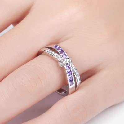 Lovely Infinity Colorful Gemstone Knot Rings