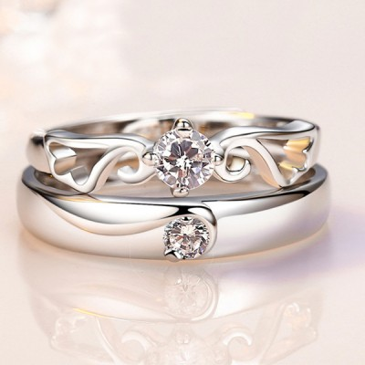 Round Cut White Sapphire Wings Promise Rings For Couples
