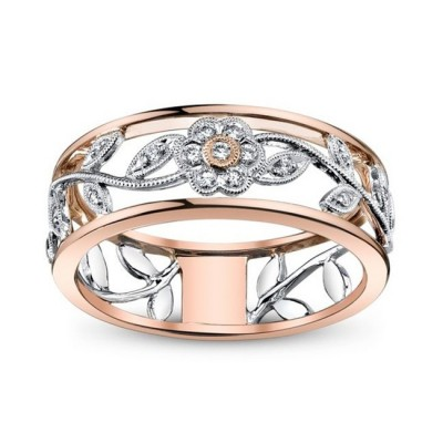 Exquisite Floral Rose Gold Women's Wedding Band