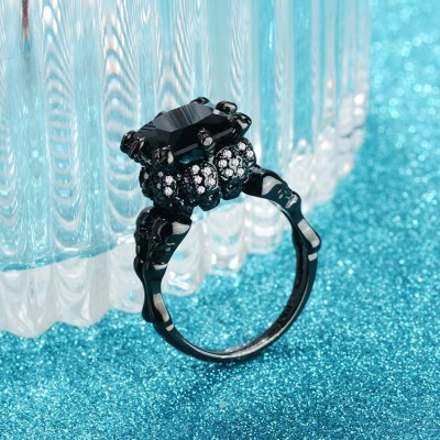 Cushion Cut Black Sapphire Skull Ring