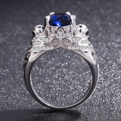Heart Cut Blue Sapphire Women's Skull Ring