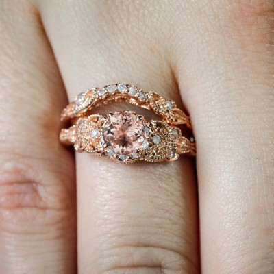 Rose Gold Round Cut Topaz Bridal Sets