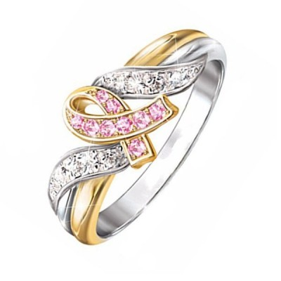 Pink and White Sapphire Knot Rings