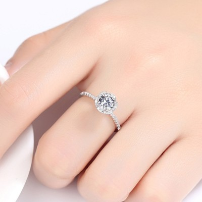 Round Cut White Sapphire 925 Sterling Silver Halo Engagement Ring