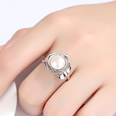 Round Pearl 925 Sterling Silver Adjustable Size Promise Ring
