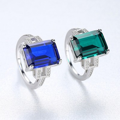 Emerald Cut Blue Sapphire & Emerald 925 Sterling Silver Promise Ring