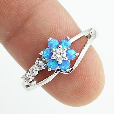 Round Cut White Sapphire Blue Flower Promise Ring