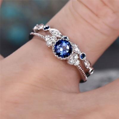 Round Cut Blue Sapphire Bridal Sets