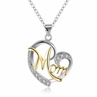 "Round Cut White Sapphire Gold & Silver Heart ""Mom"" Necklace"