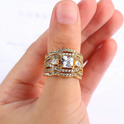 Princess Cut White Sapphire Gold Three-Stone 3-Piece Bridal Sets