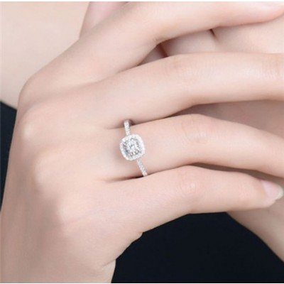 Cushion Cut White Sapphire Halo Engagement Rings