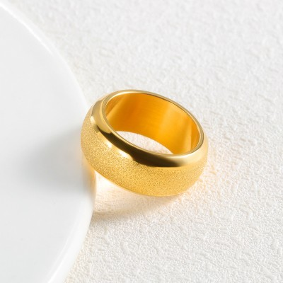 Gold Titanium Steel Scrub Men's Ring