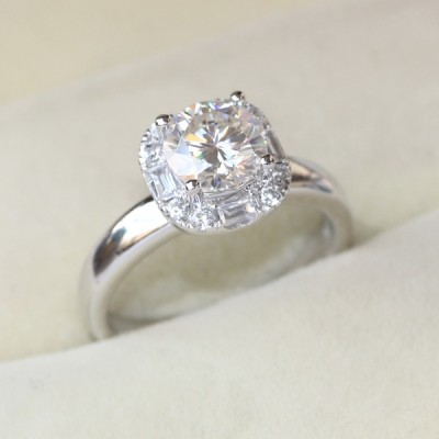 Round Cut White Sapphire Halo Engagement Ring