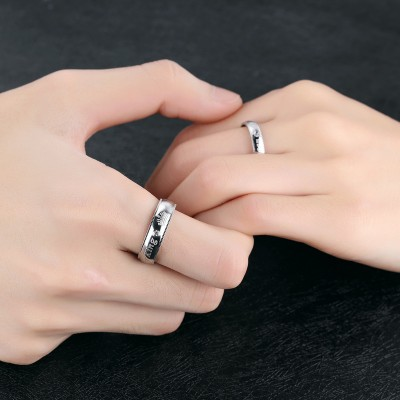Her King His Queen White Sapphire Titanium Couple Rings