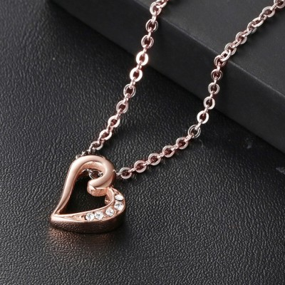 Rose Gold Heart 925 Sterling Silver With Gemstone Necklace