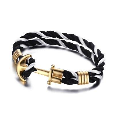 Black and White Braided Rope Gold Anchor 925 Sterling Silver Bracelet
