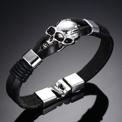 Black Leather Skull 925 Sterling Silver Bracelet