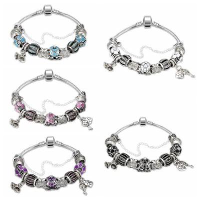 Pink/Aquamarine/White/Black/Blue/Amethyst Silver Titanium Bracelets