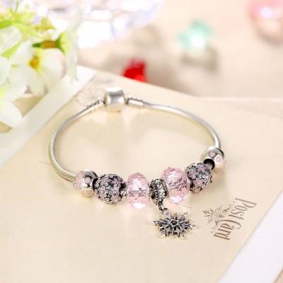 Pink Flower Cool Pendant S925 Silver Bracelets