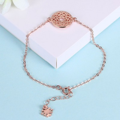 Rose Gold/Silver/Gold Round Pendant S925 Silver Bracelets