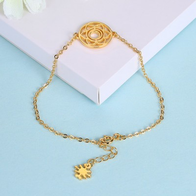 Rose Gold/Silver/Gold Flower Round Pendant S925 Silver Bracelets