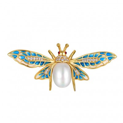 Bee 925 Sterling Silver CZ Stones Pearl Brooch