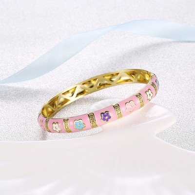 Lovely Pink Gold Titanium Bangles
