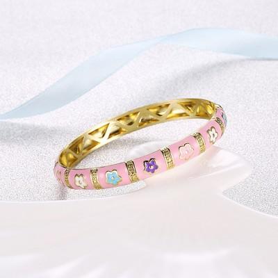 Lovely Pink Gold Titanium Bangles