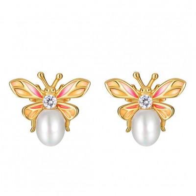 Bee 925 Sterling Silver CZ Stones Pearl Earrings