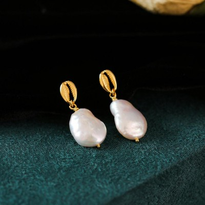 Baroque Pearl 925 Sterling Silver 18K Gold Plated Earrings
