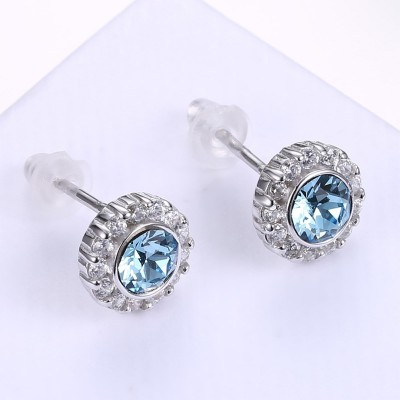 Round Cut Aquamarine S925 Silver Earrings