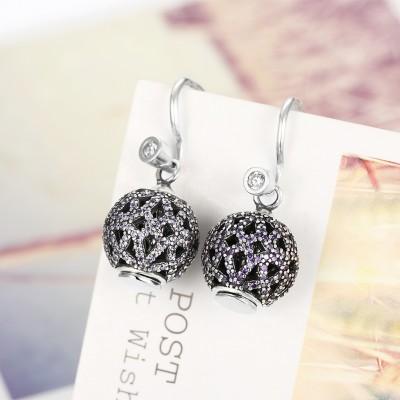 Round Cut Amethyst S925 Silver Earrings