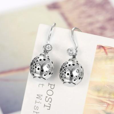 Round Cut White Sapphire S925 Silver Cute Earrings