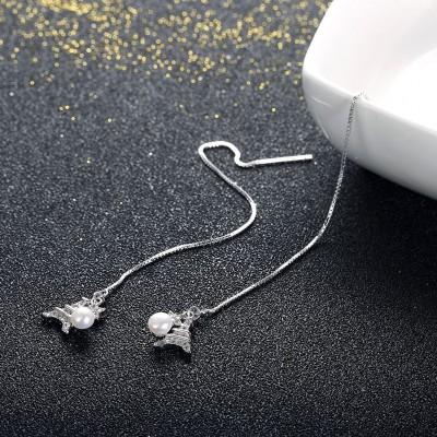 Eiffel Tower Pearl Star S925 Silver Earrings
