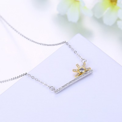 Round Cut Gold and Silver White Sapphire S925 Silver Necklaces