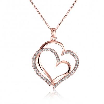 Heart Round Cut White Sapphire Gold/Rose Gold/Silver Titanium Necklaces